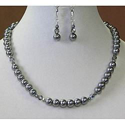 Palmtree Gems 'Black Diamond' Crystal and Pearl Necklace and Earring Set