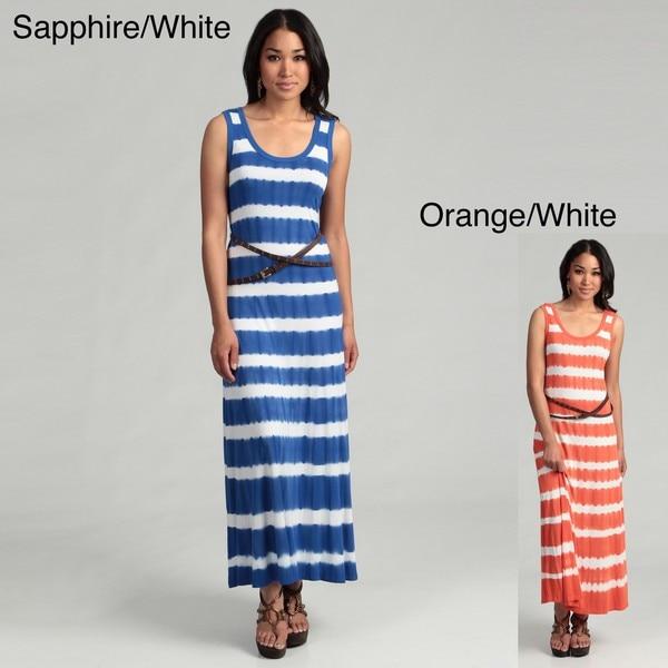 Calvin Klein Women's Tie Dye Striped Belted Dress