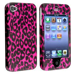 INSTEN Hot Pink Leopard Snap-on Phone Case Cover for Apple iPhone 4 AT&T/ Verizon