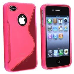 AccStation Clear Hot Pink S-Shape TPU Skin Case for Apple iPhone 4
