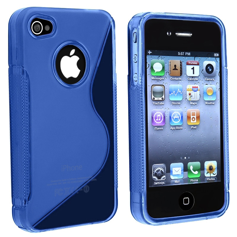 INSTEN AccStation Clear Dark Blue S Shape TPU Skin Phone Case Cover for Apple iPhone 4