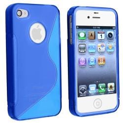AccStation Clear Dark Blue S Shape TPU Skin Case for Apple iPhone 4