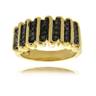 Finesque 14k Overlay and Black Diamond Accent 'S' Ring