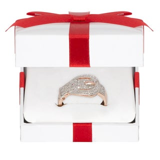 Finesque Rose Gold Overlay Diamond Accent Buckle Design Ring with Red Bow Gift Box