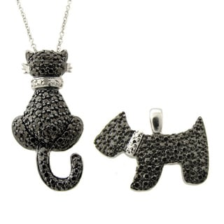 Finesque Silver Overlay Black Diamond Accent Cat and Dog Necklace