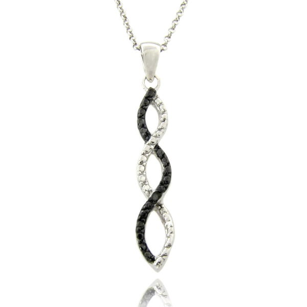Finesque Silver Overlay Diamond Accent Black and White Infinity Necklace