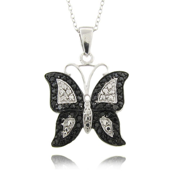 Finesque Silverplated Diamond Accent Black and White Butterfly Necklace