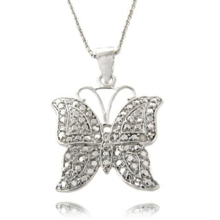 Finesque Silverplated Diamond Accent Butterfly Necklace