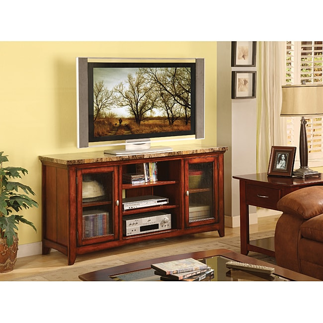 William's Home Furnishing Faux Marble 60-inch TV Stand