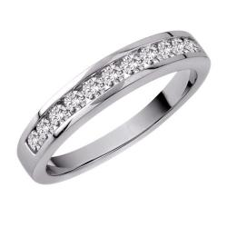 14k White Gold 1/4ct TDW Diamond Women's Wedding Eternity Band  (Size 6.75)