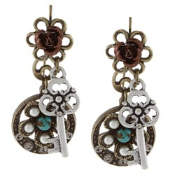 Sweet Romance Vintage Key and Turquoise Flower Charm Earrings