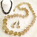 Sweet Romance Graduated Crystal Beads Necklace and Earring Set