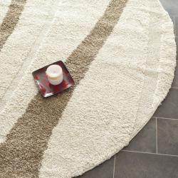 Ultimate Cream/Dark Brown Casual Shag Rug (6'7