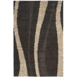 Ultimate Cream/ Dark Brown Shag Polypropylene Rug (3'3 x 5'3)