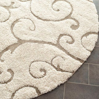 Ultimate Cream/ Beige Shag Rug (6' 7 Round)