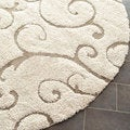 Ultimate Cream/ Beige Polypropylene Shag Rug (6'7 Round)