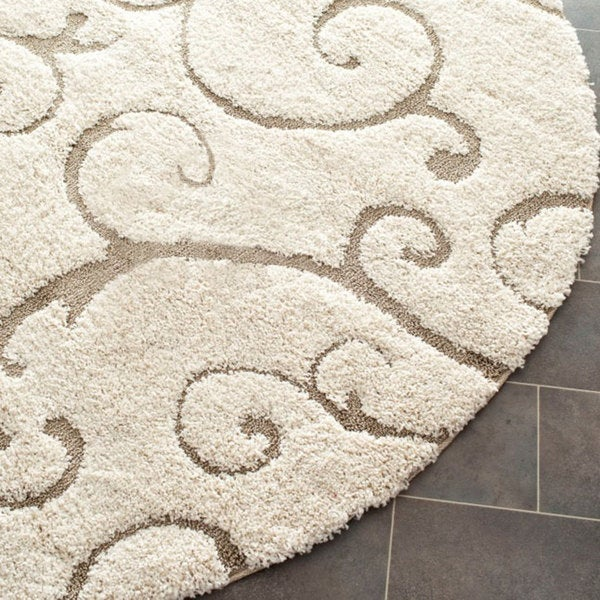 Safavieh Florida Ultimate Shag Cream/ Beige Rug (6' 7 Round)