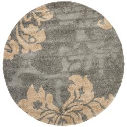Ultimate Dark Grey/ Beige Shag Rug (6' 7 Round)