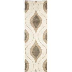 Ultimate Cream/ Smoke Shag Rug (2'3 x 7')