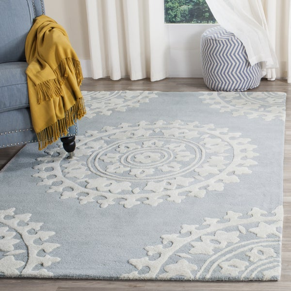 Safavieh Handmade Soho Chrono Grey/ Ivory New Zealand Wool Rug (6' x 9')