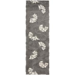 """Ultimate Dark Gray/Beige Shag Runner Rug (2'3"""" x 7')"""