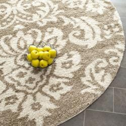 Ultimate Beige Shag Area Rug (6' 7 Round)