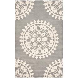Handmade Soho Chrono Grey/ Ivory N. Z. Wool Rug (9'6 x 13'6)