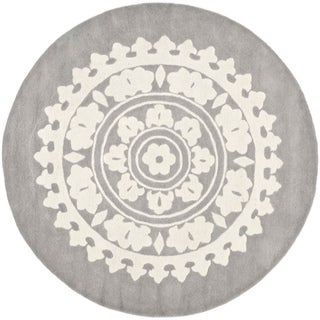 Handmade Soho Chrono Grey/ Ivory New Zealand Wool Rug (8' Round)