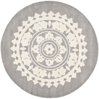 Safavieh Handmade Soho Chrono Grey/ Ivory New Zealand Wool Rug (8' Round)