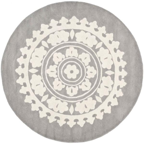 Safavieh Handmade Soho Chrono Grey/ Ivory New Zealand Wool Rug (8' Round)