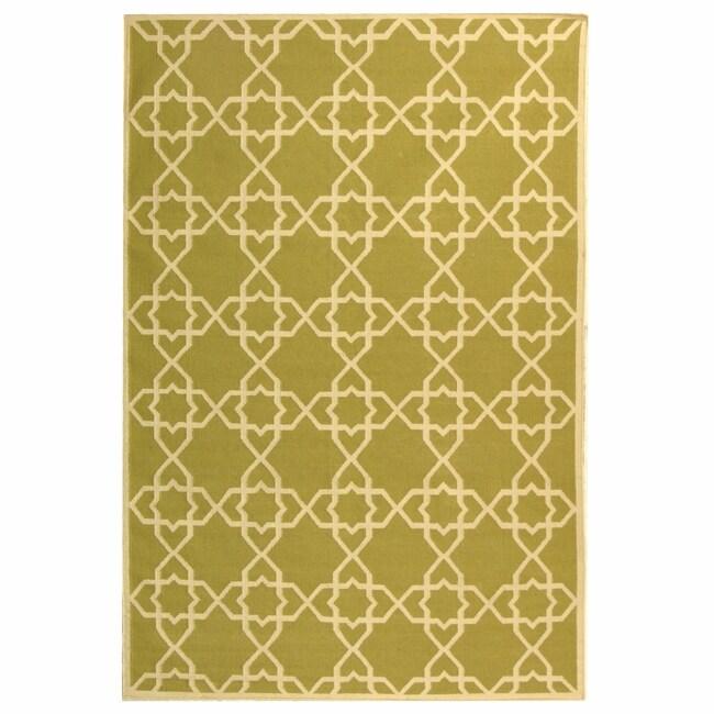 Safavieh Hand-woven Moroccan Reversible Dhurrie Green/ Ivory Wool Rug (10' x 14')