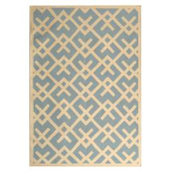 Safavieh Handwoven Moroccan Dhurrie Crisscross-pattern Light Blue/ Ivory Wool Rug (9' x 12')