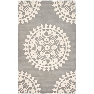 Handmade Soho Chrono Grey/ Ivory New Zealand Wool Rug (8'3 x 11')