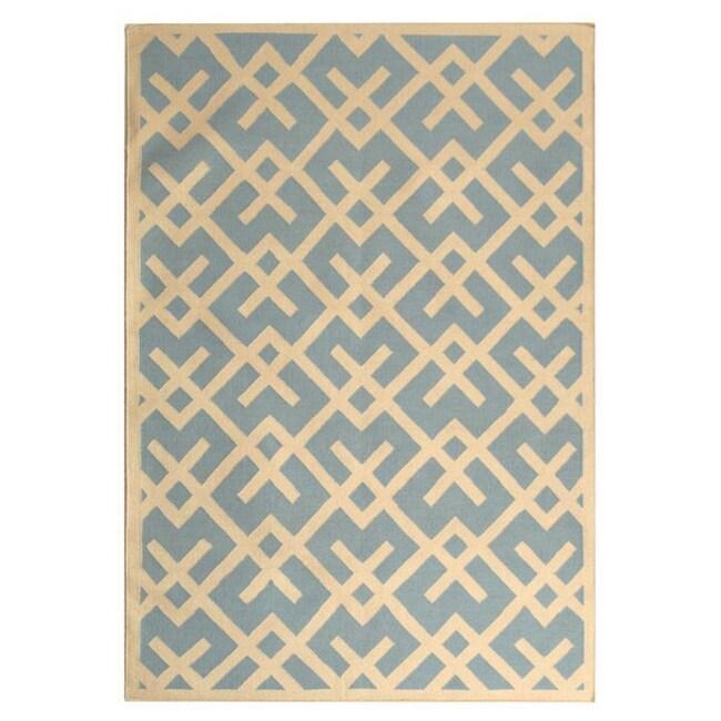Safavieh Hand-woven Moroccan Reversible Dhurrie Light Blue/ Ivory Wool Rug (10' x 14')