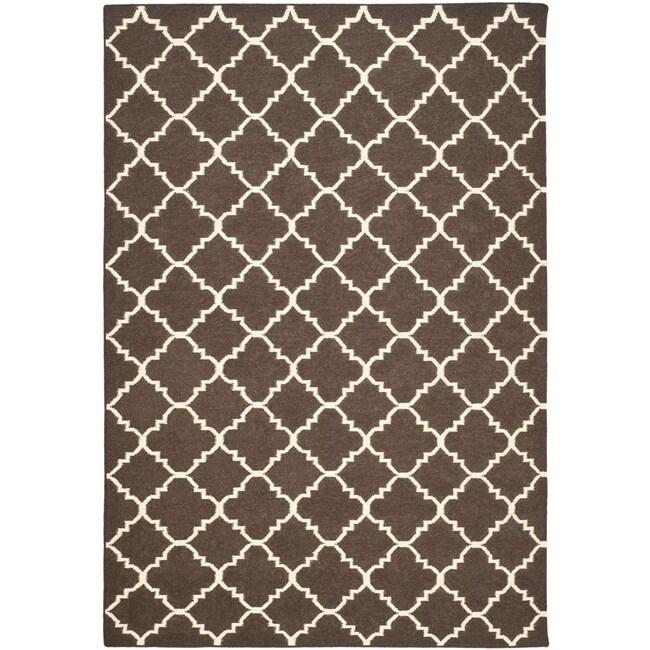 Safavieh Hand-woven Moroccan Reversible Dhurrie Brown/ Ivory Wool Rug (6' x 9')