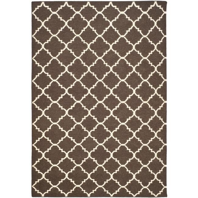 Safavieh Hand-woven Moroccan Reversible Dhurrie Brown/ Ivory Wool Rug (9' x 12')
