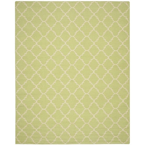 Safavieh Moroccan Geometric Light Green/Ivory Reversible Dhurrie Wool Rug (10' x 14')