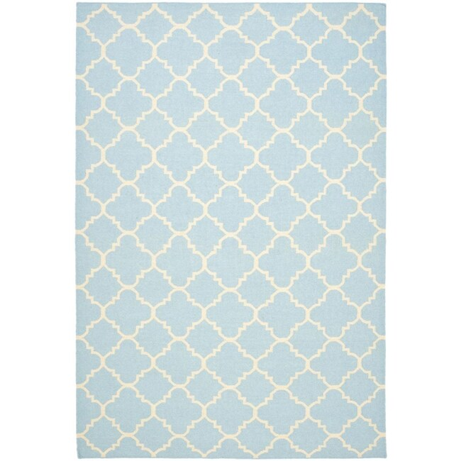 Safavieh Hand-woven Moroccan Reversible Dhurrie Light Blue/ Ivory Wool Rug (6' x 9')