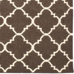 Safavieh Hand-woven Moroccan Dhurrie Brown/ Ivory Wool Rug (10' x 14')