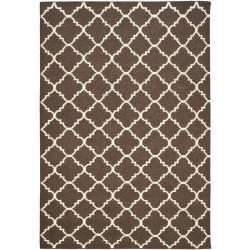Safavieh Hand-woven Moroccan Dhurrie Brown/ Ivory Wool Rug (5' x 8')