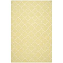 Safavieh Hand-woven Moroccan Dhurrie Light Green/ Ivory Wool Rug (9' x 12')