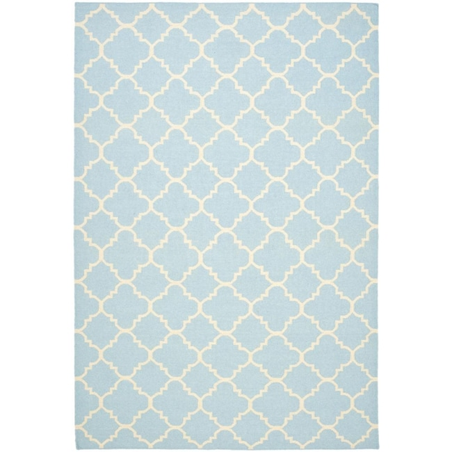 Safavieh Hand-woven Moroccan Reversible Dhurrie Light Blue/ Ivory Wool Rug (5' x 8')