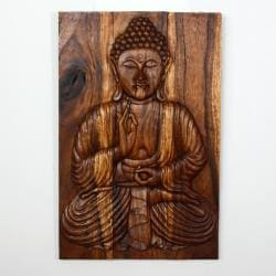 Hand-carved Buddha 'Sakyamuni Seated' Acacia Wood Carved Panel , Handmade in Thailand
