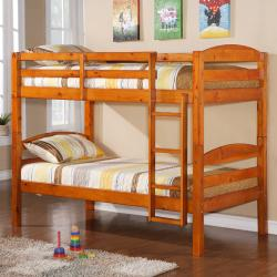 Twin Over Twin Solid Wood Honey Bunk Bed  Overstock Com