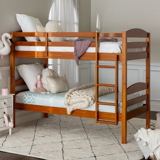Taylor & Olive Christian Wood Twin Over Twin Bunk Bed - Honey