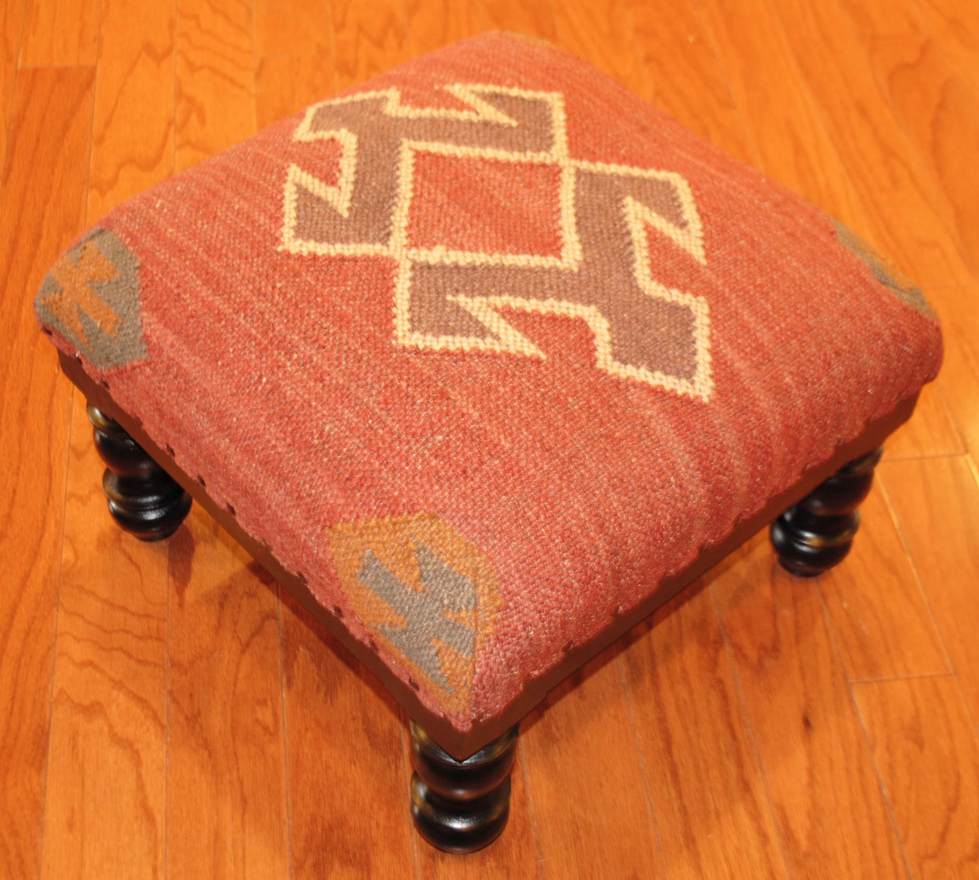 Handmade Kilim Square Footstool (India)