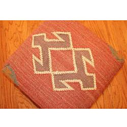 Handmade Kilim Square Footstool (India)