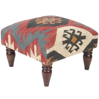Handmade Kilim Footstool (India)