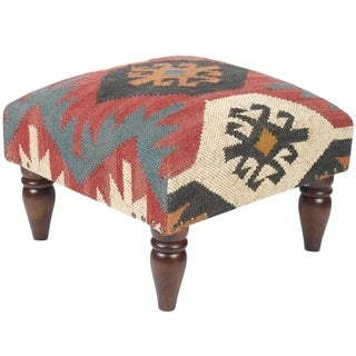 Handmade Kilim Footstool (India)