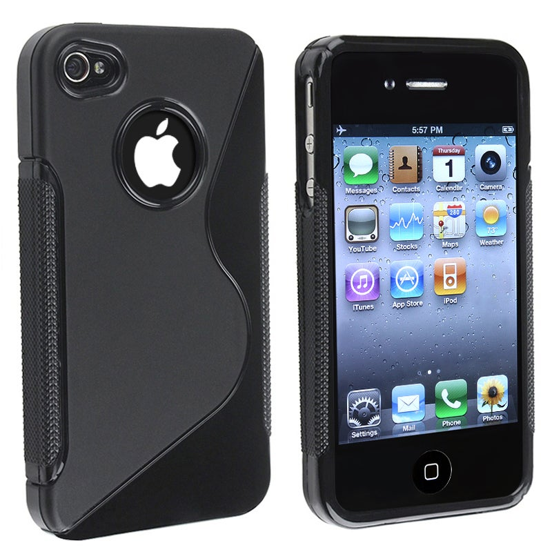INSTEN AccStation Black S-shape TPU Rubber Skin Phone Case Cover for Apple iPhone 4